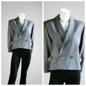 Vintage Jeremy Scott Gray Wool Cropped Boxy Blazer